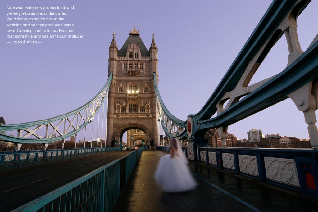 testimonial for Jseph Tufo on a photo of a bride by London Bridge at sunrise